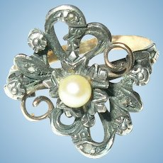 Georgian 18K Silver Ring Diamond Salt Water Pearl
