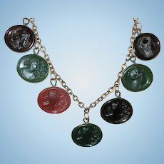 Victorian Necklace Intaglio Watch Faux Charms