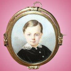 Antique 9k Pendant Miniature Portrait 1860's