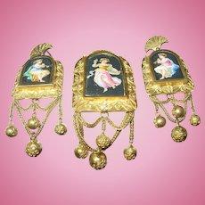 Antique Earring Brooch Set Enamel Dancing Goddesses 1820's