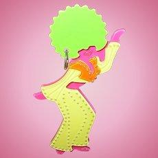 Vintage Celluloid Dancing Female Brooch