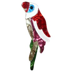 Vintage Celluloid Parrot Brooch
