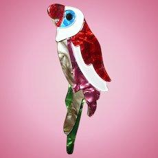 Vintage Celluloid Parrot Brooch