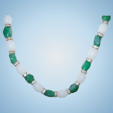 Vintage Necklace Green White Beads 1950's
