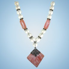 Vintage Lucite Necklace Clear Rose Pink Beads