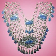 Vintage Bibb Necklace Blue Malachite Nickle Silver