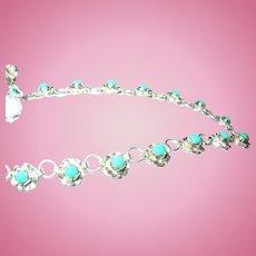 Vintage Link Necklace Sterling Turquoise