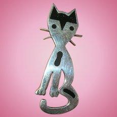 Vintage Sterling Whimsical Cat Brooch