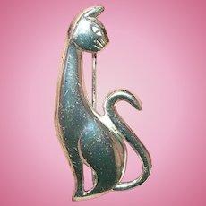 Vintage Sterling Brooch Cat