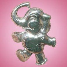 Vintage Sterling Brooch Whimsical Elephant