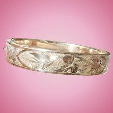 Edwardian Gold Filled Hinged Bangle Chased Design
