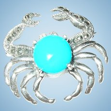 Vintage Sterling Crab Brooch Faux Turquoise