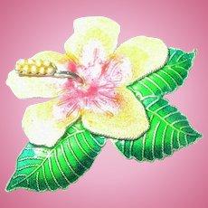 Vintage Sterling Brooch Enamel Flower