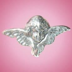 Vintage Sterling Angel Brooch Pendant