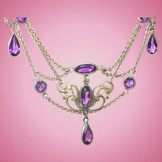 Edwardian Festoon Necklace Lavender Stones