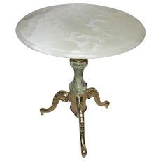 Vintage Green Onyx Coffee Table with Brass Legs