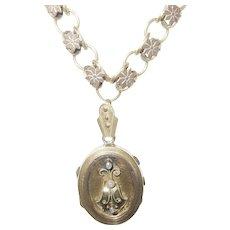 Antique Victorian Gold Fill Chain Locket Pendant