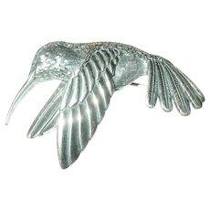 Vintage Sterling Hummingbird Brooch By Kabana