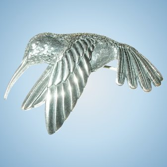 Vintage Sterling Hummingbird Brooch By Kabana