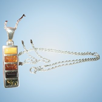 Vintage Sterling Amber Pendant Necklace