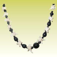 Vintage Necklace Black Onyx Beads