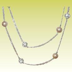 Vintage Link Necklace Faux Pearls Rhinestones