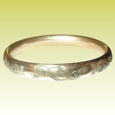 Edwardian Hinged Bangle Rolled Gold 1900's