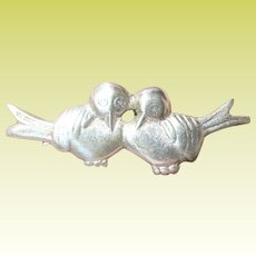 Vintage Sterling Brooch Love Birds
