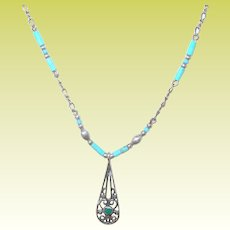 Vintage Sterling Pendant Necklace Turquoise