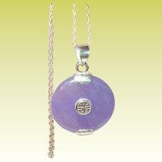 Vintage Sterling Necklace Pendant Lavender Jade