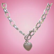 Vintage Necklace Stirling Links Puffy Heart Pendant