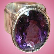 Vintage Sterling Ring Lg Faceted Amethyst