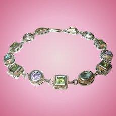 Vintage Sterling Link Bracelet Precious Stones