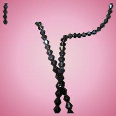 Vintage Necklace Black Faceted Beads
