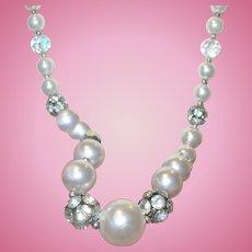 Vintage Faux Pearl Necklace Aurora Borealis Rhinestones