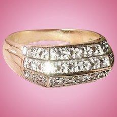 Vintage Sterling Vermeil Diamond Ring