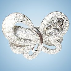 Vintage Sterling Diamond Butterfly Ring