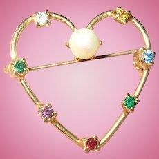 Vintage Sterling Vermeil Heart Brooch