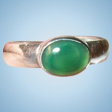 Vintage Sterling Ring Faux Green Cabochon