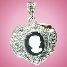 Vintage Sterling Locket Pendant Heart Shaped