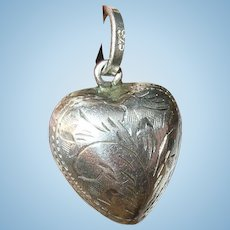 Vintage Sterling Heart Charm Hand Chased