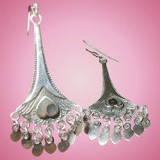 Vintage Sterling Drop Earrings Abalone Shell