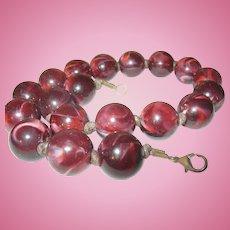 Vintage Bakelite Necklace Brown Marble