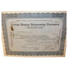 Vintage United States Steamship Company Bond 1920