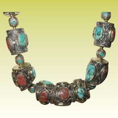 Vintage Tribal Necklace Turquoise Coral Mosaic Beads