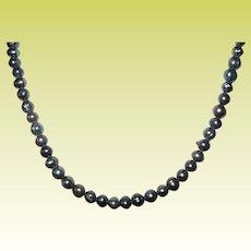 Vintage Necklace Cultured Fresh Water Black Pearls