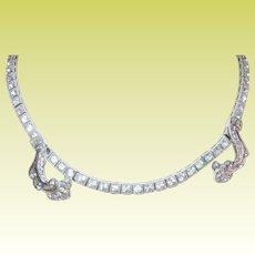 Vintage Sterling Necklace Faux Diamonds by Dorsons
