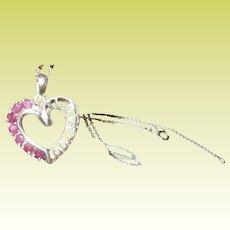Vintage Heart Pendant Necklace Rubies