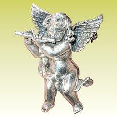 Vintage Sterling Brooch Cherub Angel