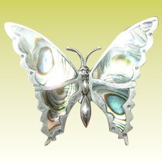 Vintage Sterling Butterfly Brooch Abalone Shell